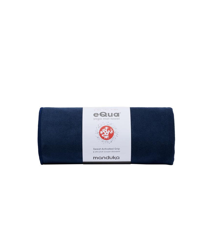 Manduka eQua Mat Towel - Midnight - rolled | Eco Yoga Store