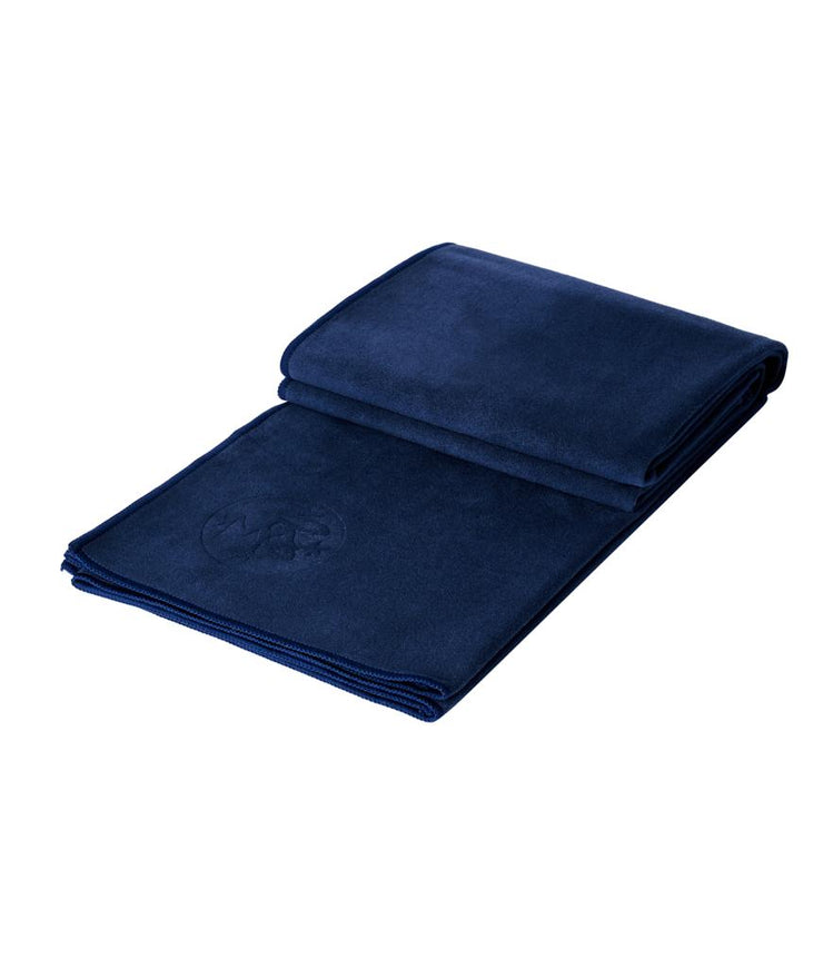 Manduka eQua Mat Towel - Midnight - folded | Eco Yoga Store