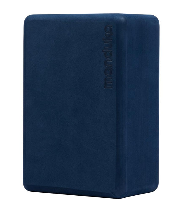 Manduka Recycled Foam Block - Midnight - standing vertically | Eco Yoga Store
