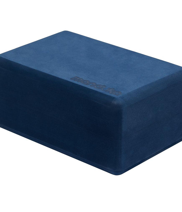Manduka Recycled Foam Block - Midnight - standing horizontally | Eco Yoga Store