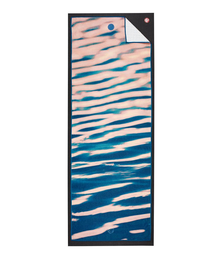 Manduka Yogitoes Mat Towel - Waves - lying flat | Eco Yoga Store