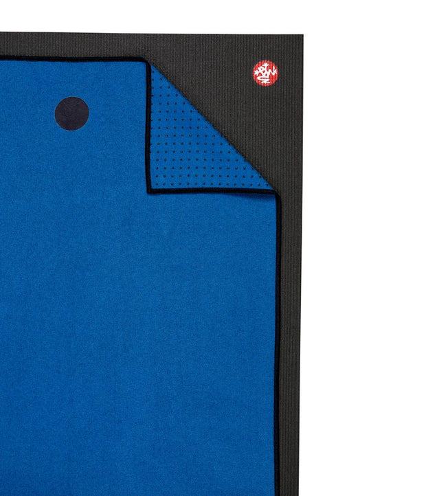 Manduka Yogitoes Mat Towel - Be Bold Blue - lying flat, corner folded over | Eco Yoga Store
