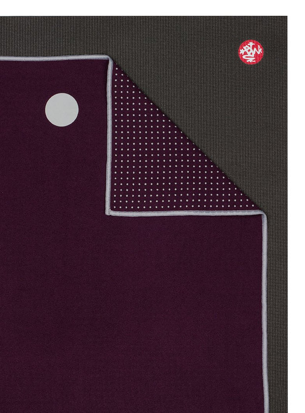 Manduka Yogitoes Mat Towel - Indulge - lying flat, corner folded over | Eco Yoga Store