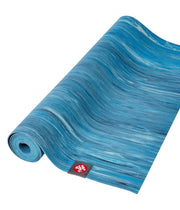 Manduka eKO Superlite 1.5mm Yoga Mat - Dresden Blue Marbled - part rolled | Eco Yoga Store