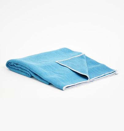 TRIBE Get a Grip Towel - Denim - folded with corner turned over | Eco Yoga Store