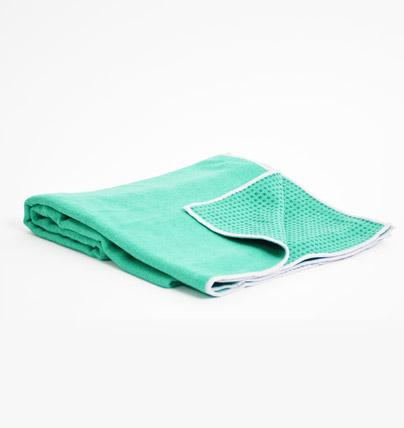 TRIBE Get a Grip Towel - Emerald - folded with corner turned over | Eco Yoga Store