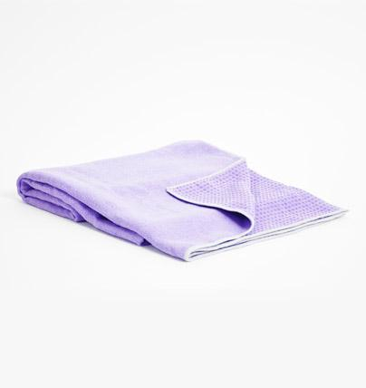 TRIBE Get a Grip Towel - Lilac - folded with corner turned over | Eco Yoga Store