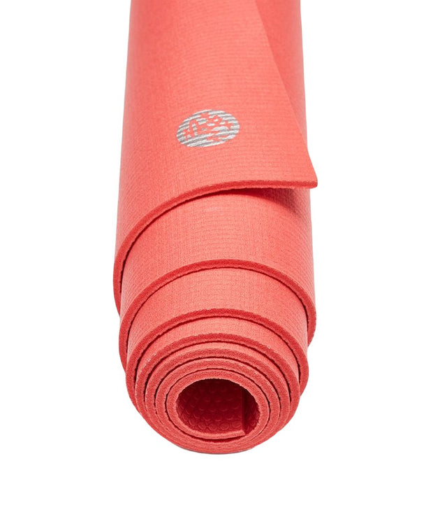 Manduka PROLite 5mm - Deep Coral - rolled end on | Eco Yoga Store