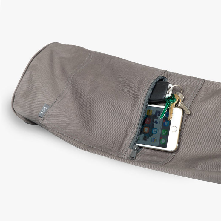 TRIBE Carry On Yoga Mat Bag - Storm - detail of exterior pocket with mobile phone & keys | Eco Yoga Store