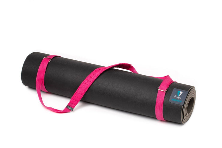 TRIBE Carry Me Mat Sling - Fushia - attached to a Warrior yoga mat | Eco Yoga Store
