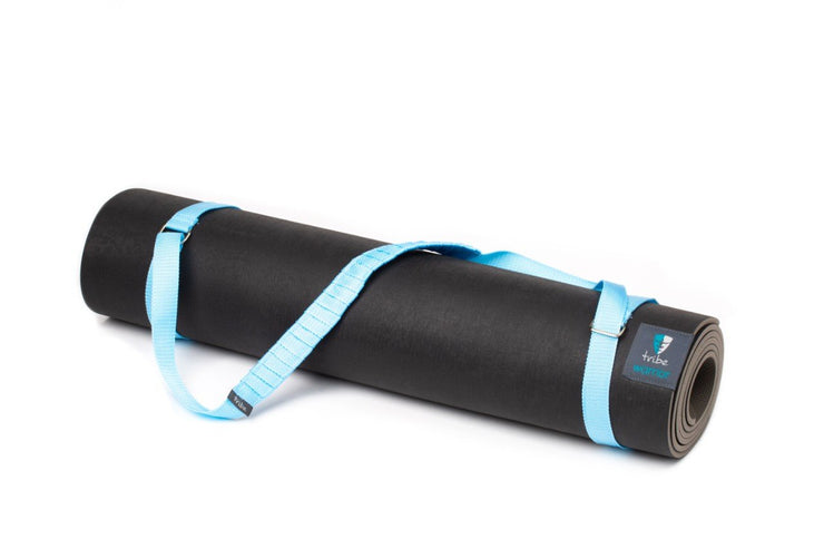 TRIBE Carry Me Mat Sling - Light Blue - attached to a Warrior yoga mat | Eco Yoga Store
