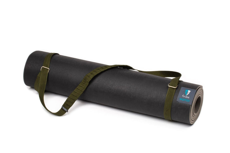 TRIBE Carry Me Mat Sling - Olive - attached to a Warrior yoga mat | Eco Yoga Store