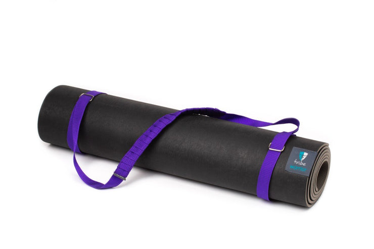 TRIBE Carry Me Mat Sling - Purple - attached to a Warrior yoga mat | Eco Yoga Store