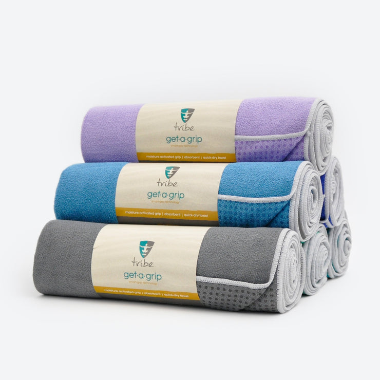 TRIBE Get a Grip Towels - Storm, Denim, Lilac - stacked 45 degree pyramid  | Eco Yoga Store