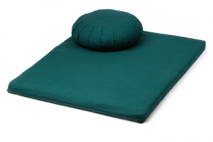 TRIBE - Zafu Meditation Cushion paired with a Zabuton Meditation Mat - Deep Forest | Eco Yoga Store