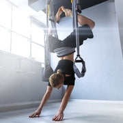TRIBE Aerial Yoga Swing - suspended in-use - handstand pose | Eco Yoga Store