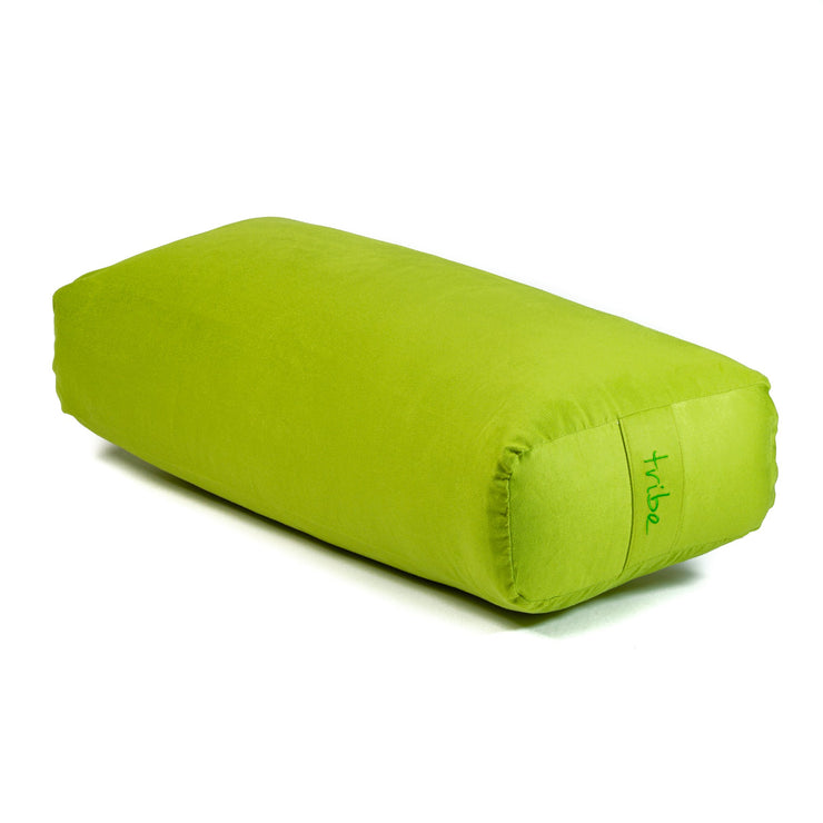 TRIBE Rectangular Bolster - Lime - 45 degrees angle | Eco Yoga Store