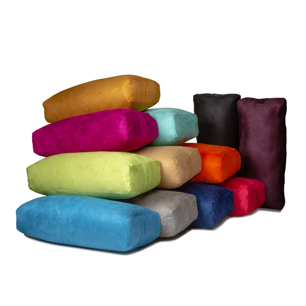 TRIBE Rectangular Bolsters - group shot of all colours | Eco Yoga Store