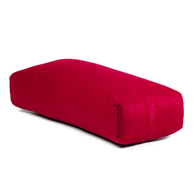 TRIBE Rectangular Bolster - Cherry - 45 degrees angle | Eco Yoga Store