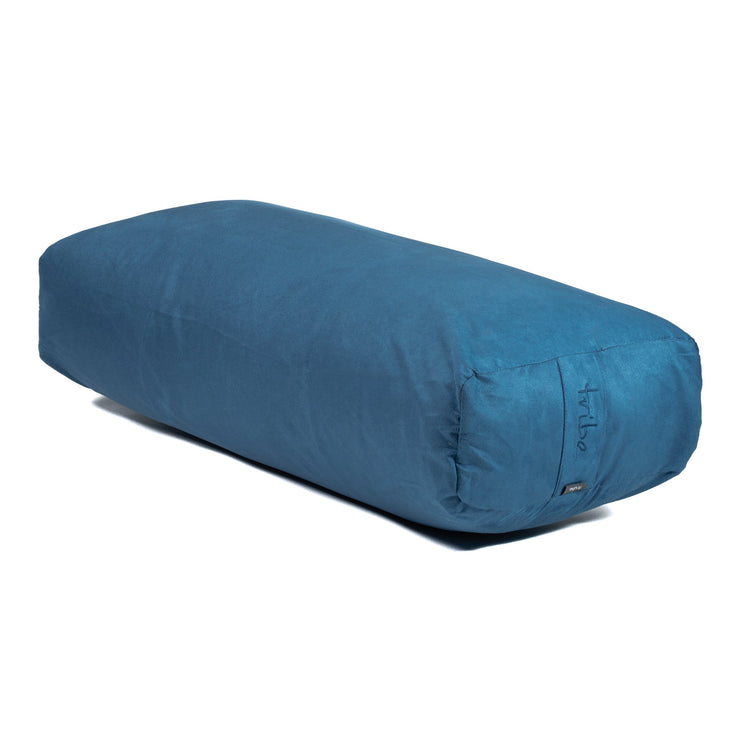 TRIBE Rectangular Bolster - Denim - 45 degrees angle | Eco Yoga Store