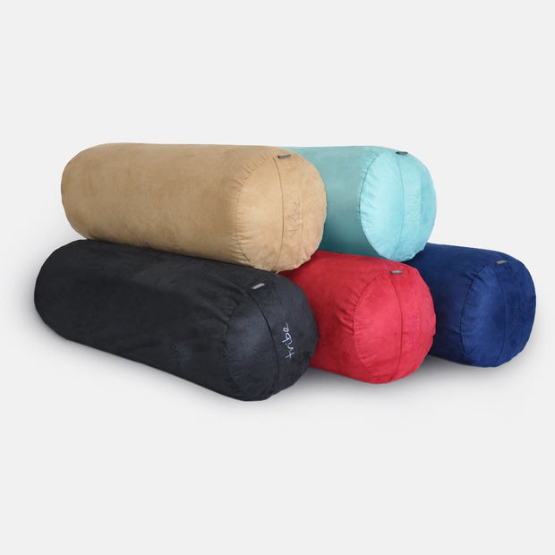 TRIBE Round Bolsters - group shot of Taupe, Pacific, Cosmos, Cherry, Navy | Eco Yoga Store