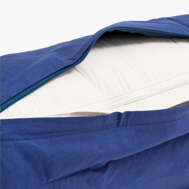 TRIBE Round Bolster - Organic Cotton Cover - Sapphire - outer cover unzipped showing inner cover | Eco Yoga Store