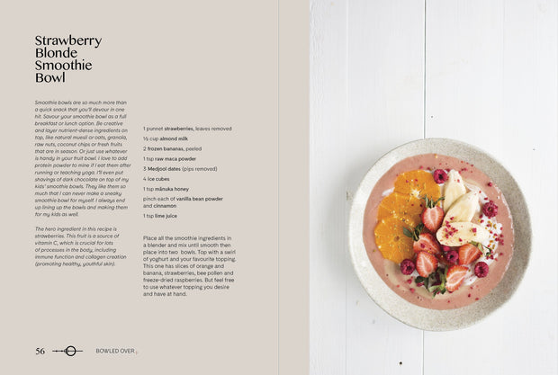Rachel Grunwell - Balance: Food, Health & Happiness - strawberry blonde smoothie bowl page | Eco Yoga Store