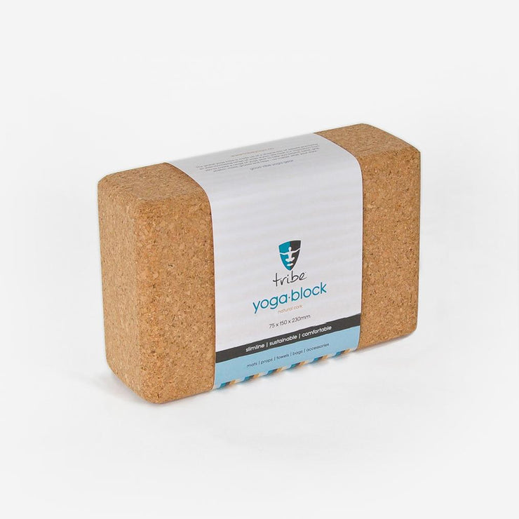 TRIBE Cork Block Slim in wrapper | Eco Yoga Store