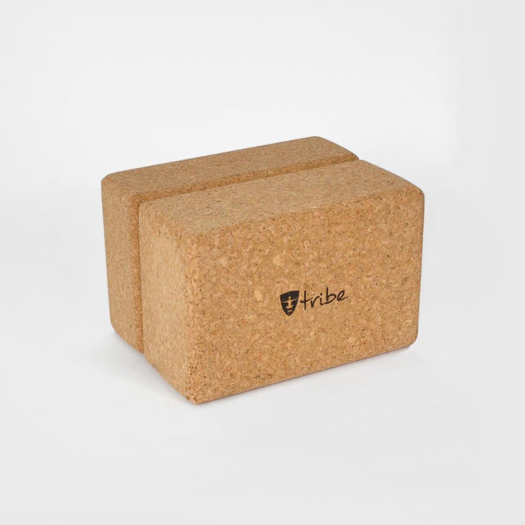 TRIBE Cork Block Standard in packet - two horizontal side by side | Eco Yoga Store