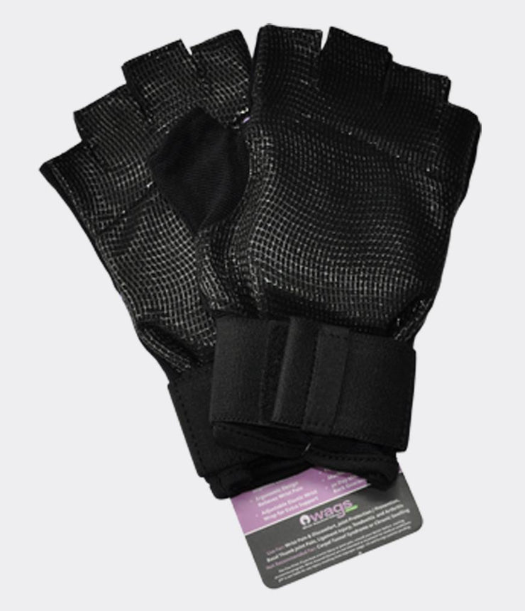 WAGS Wrist Support Gloves - Ultra - Black - palm side | Eco Yoga Store