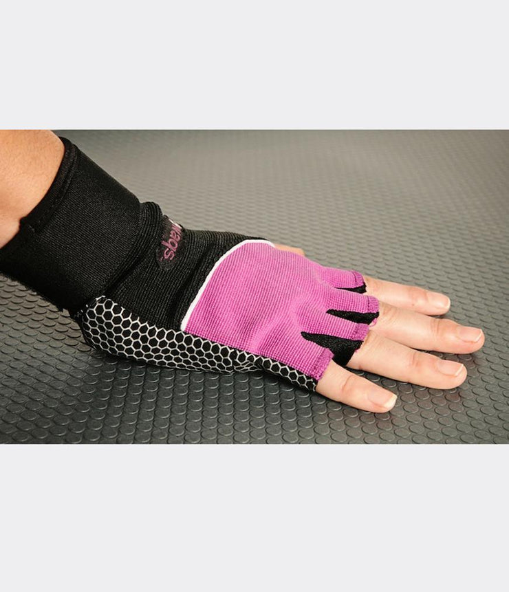 WAGS Wrist Support Gloves - Ultra - Pink - shown on right hand | Eco Yoga Store