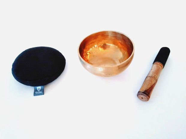 Tibetan Singing Bowl - brass bowl, wooden striker & cotton pad, side by side - TRIBE | Eco Yoga Store