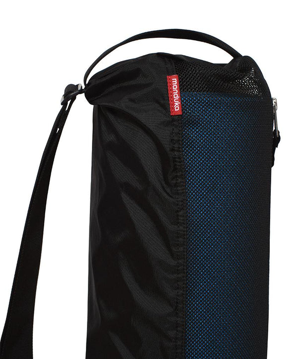 Manduka Breathe Easy Yoga Mat Bag - Black - Vertical - top section with strap | Eco Yoga Store