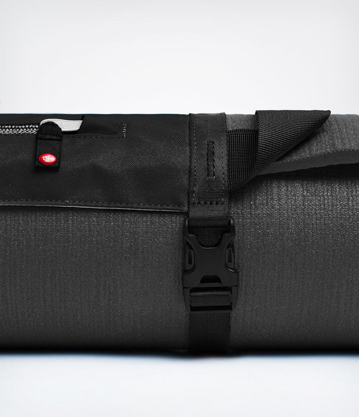 Manduka Go Play 3.0 Mat Carrier - Black - close-up of strap | Eco Yoga Store