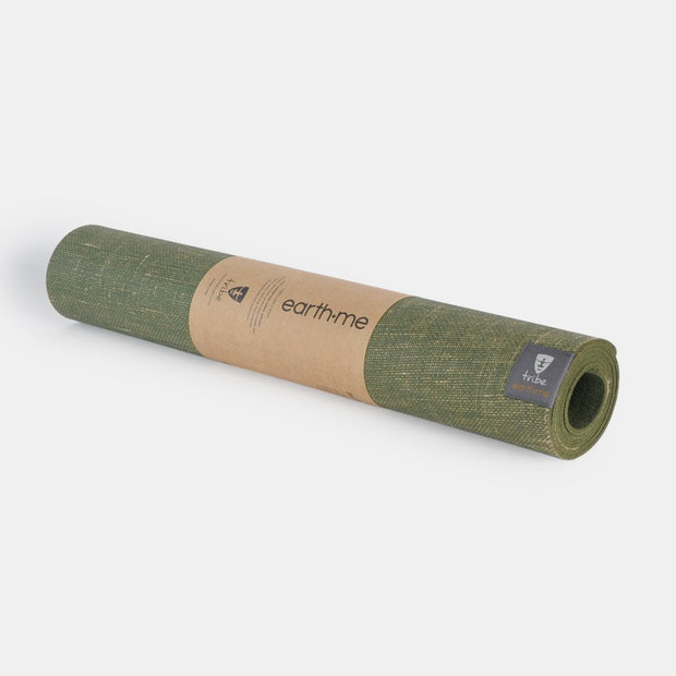 Tribe Earth.Me 4mm Yoga Mat, Olive Colour, horizontally rolled | Eco Yoga Store