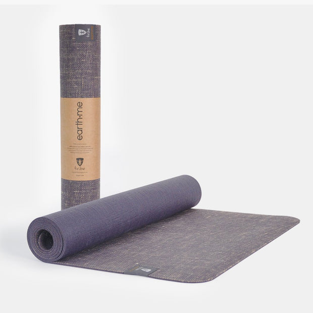Tribe Earth.Me 4mm Yoga Mat, Amethyst Colour, rolled & partially unrolled | Eco Yoga Store