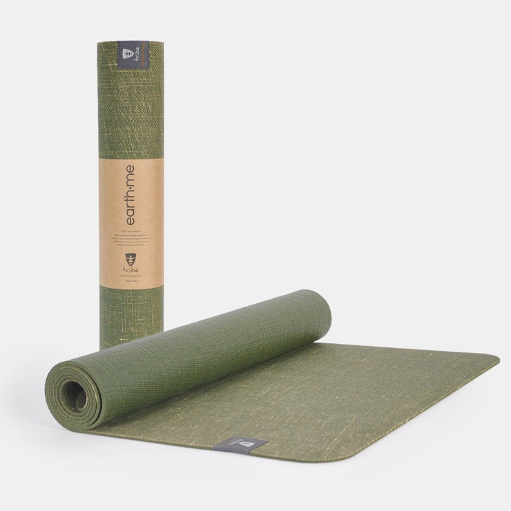Tribe Earth.Me 4mm Yoga Mat, Olive Colour, rolled & partially unrolled | Eco Yoga Store
