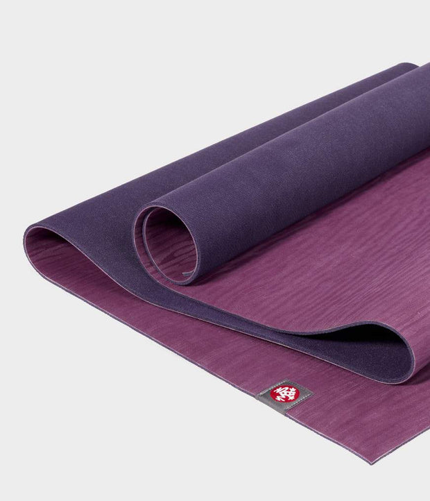 Manduka eKO 6mm Long Yoga Mat - Acai Midnight - part unrolled | Eco Yoga Store