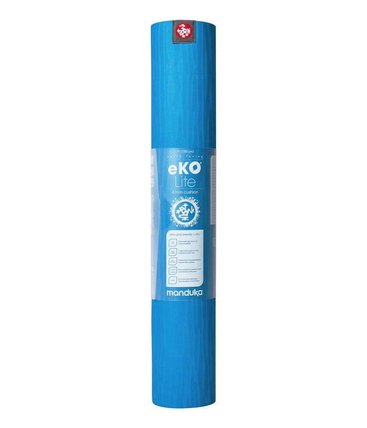 Manduka eKOLite 4mm Yoga Mat - Dresden Blue - rolled vertical in wrapper | Eco Yoga Store