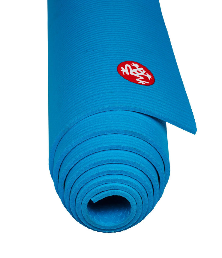 Manduka PROLite 5mm - Dresden Blue - rolled end on | Eco Yoga Store