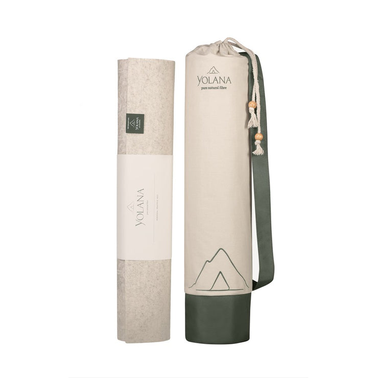 Yolana Pure NZ Wool Yoga Mat - vertical next to mat bag | Eco Yoga Store