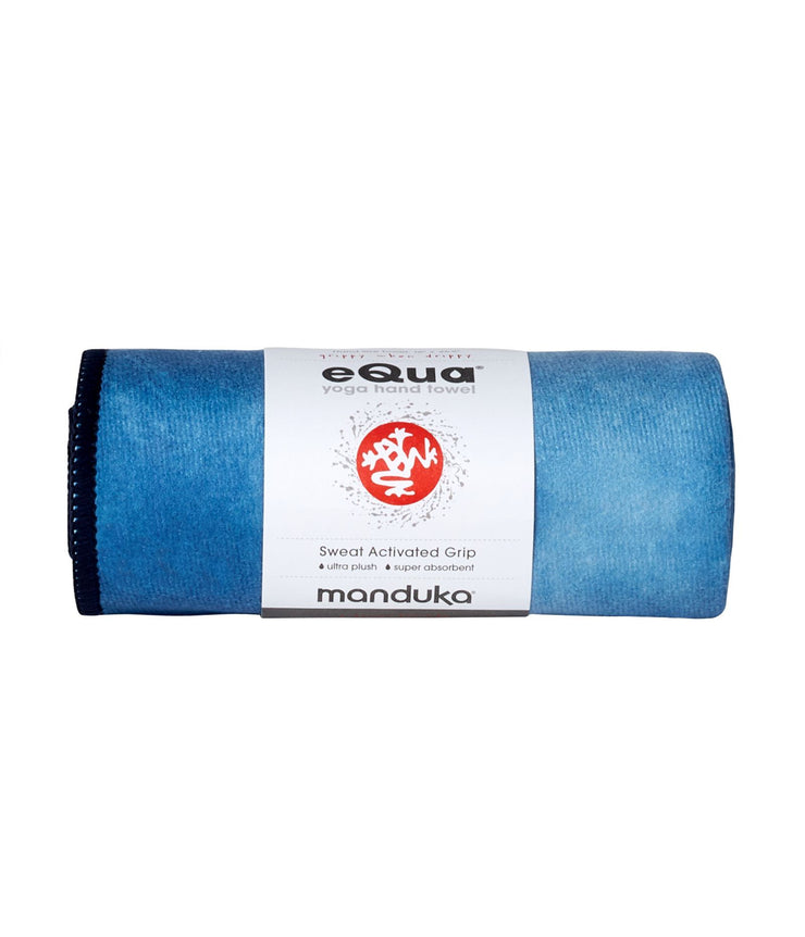 Manduka eQua Hand Towel - Camo Tie Dye Blues - rolled | Eco Yoga Store