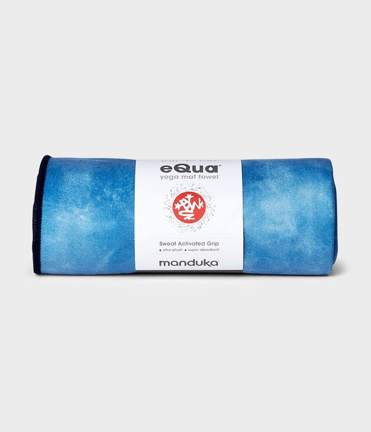 Manduka eQua Mat Towel - Camo Tie Dye Blues - rolled | Eco Yoga Store