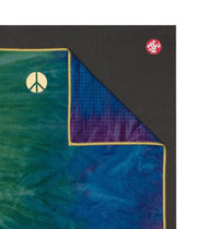 Manduka Yogitoes Mat Towel - Peacock - lying flat, corner folded over | Eco Yoga Store