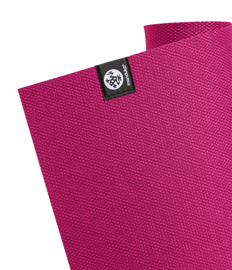 Manduka X 5mm Yoga Mat - Dark Pink - top corner | Eco Yoga Store
