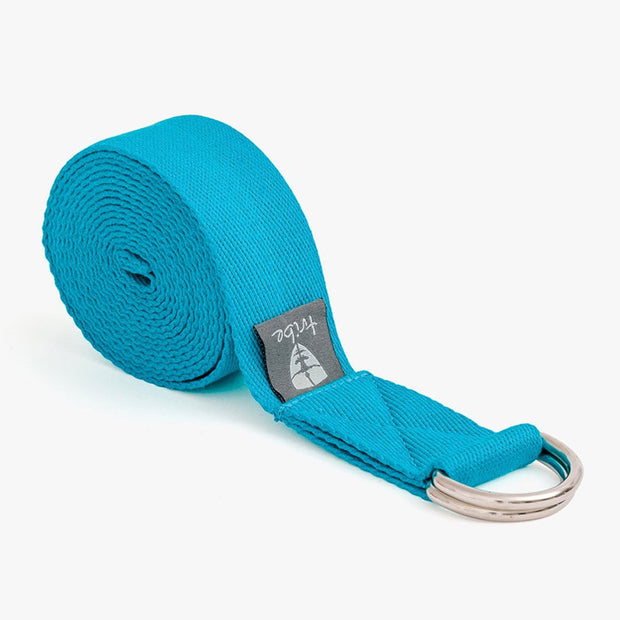 TRIBE Cotton Strap - Turquoise - rolled | Eco Yoga Store