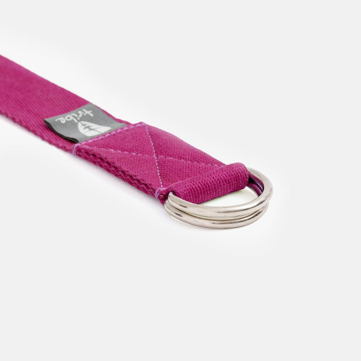 TRIBE Cotton Strap - Fushia - close-up of D rings | Eco Yoga Store