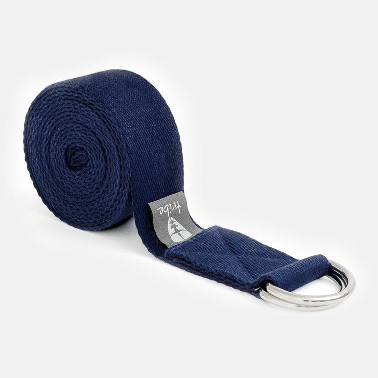 TRIBE Cotton Strap - Navy - rolled | Eco Yoga Store