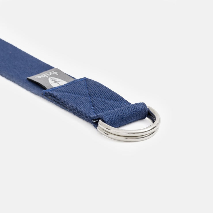 TRIBE Cotton Strap - Navy - close-up of D rings | Eco Yoga Store
