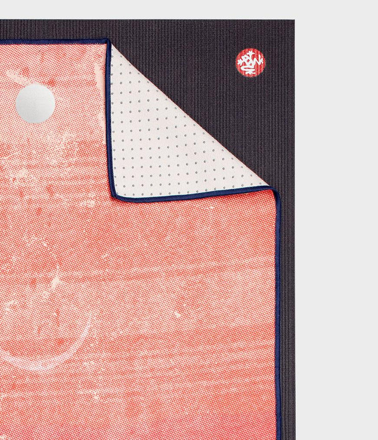 Manduka Yogitoes Mat Towel - Gradient Moon - lying flat, corner folded over | Eco Yoga Store